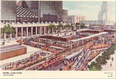 Hình 7. Mặt cắt mô tả dự án trung tâm dịch vụ, thương mại bán lẻ kết hợp trong nhà ga xe điện ngầm Wilshire/La Brea - Nam Califonia (Mỹ). Nguồn: http://metroprimaryresources.info)