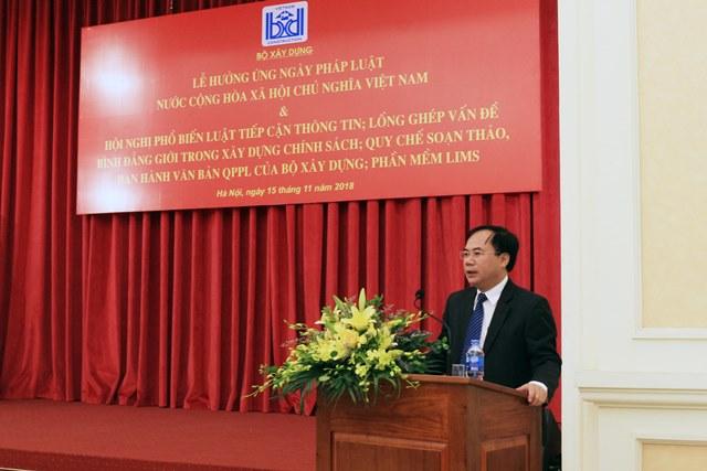 Thứ trưởng Bộ Xây dựng Nguyễn Văn Sinh phát biểu tại Lễ hưởng ứng
