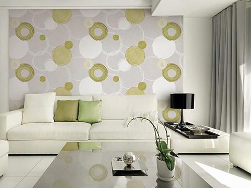 Trang trí tường phòng khách bằng vải dán tường