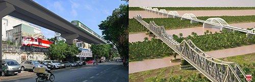 Phương án ĐSĐT đã tạm dừng năm 2014: Hạn chế của việc tách rời các dự án đầu tư tốn kém và không hỗ trợ lẫn nhau. ĐSĐT trên cao đi bên cạnh ĐSQG, cả hai tuyến đường sắt vẫn cản trở đường bộ trong phố và không hỗ trợ bảo tồn cầu Long Biên - Nguồn: Hanoidata ST&BT
