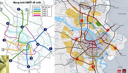 Sơ đồ hướng tuyến đã được JICA đề xuất 2006: Tuyến 3 (đoạn 3.2) bắt đầu ở cuối phố Trần Hưng Đạo tới phố Tam Trinh. Đề xuất của City Solution 2018 đi ngầm dưới phố Trần Hưng Đạo và kết hợp với cầu ngầm vượt sông sang vùng phát triển đô thị giá trị cao phía Bắc sông Hồng
