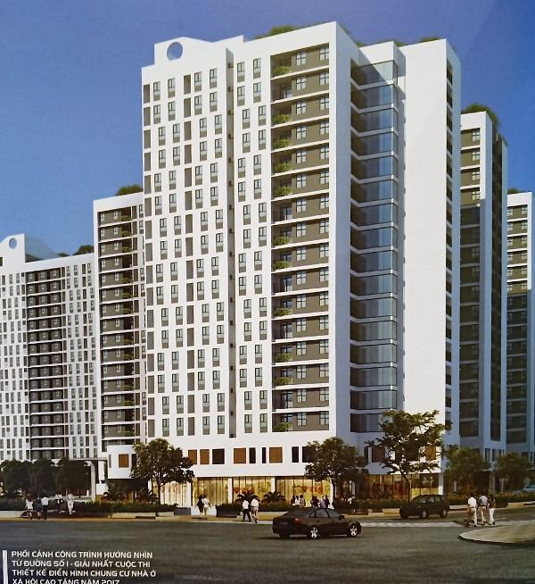 Phối cảnh công trình thiết kế đạt giải Nhất cuộc thi thiết kế điển hình chung cư nhà ở xã hội cao tầng năm 2017