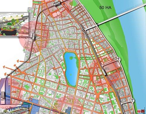 Đặt ga C9 cách xa Hồ Gươm. Bán kính đi bộ 5-7 phút có thể tiếp cận các ga ĐSĐT