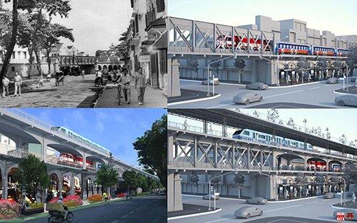 Cầu chui qua phố Cửa Đông trên đường Phùng Hưng trước 1954, các vòm cầu đã còn để rỗng; Phương án do CitySolution đề xuất 2018: gia cường kết cấu, tích hợp ĐSQG và ĐSĐT trên cùng tuyến với phương án 2 tầng, 3 tầng và cả đường đi bộ - du lịch  trên cao. Nguồn: Hanoidata