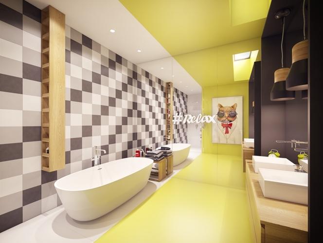 Phòng tắm chính là sự pha trộn thú vị giữa sự vui tươi và màu sắc
