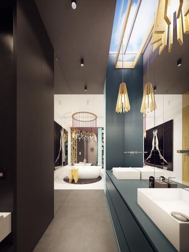 Các sắc thái khác nhau của màu sắc tạo ra một phòng tắm thú vị và hấp dẫn