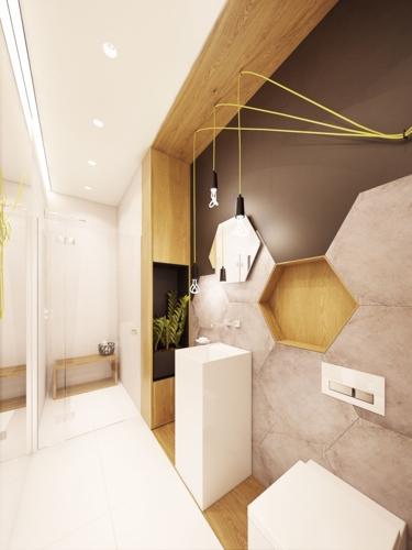 Phòng tắm dành cho khách như một spa tự nhiên với cây xanh và đá ốp tường hình tổ ong