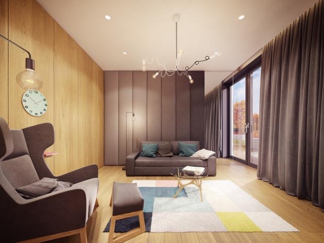 Phòng khách có một không gian ấm áp nhờ chọn nội thất bằng gỗ, bức tường kính được hỗ trợ bằng tấm rèm cửa lớn, thảm trải sàn nhiều màu sắc tăng thêm cảm giác sinh động cho không gian