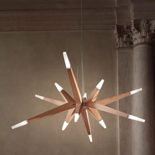 Trước đây đèn chùm thường được làm bằng kim loại, hiện nay thân đèn còn có thể được làm bằng gỗ, dây điện giấu bên trong và gắn với bóng phía ngoài mang đến sự thú vị trong trang trí và sử dụng nội thất
