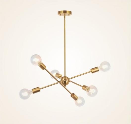 Đèn khung đồng 6 bóng, khung treo có thể điều chỉnh độ dài phù hợp với chiều cao của trần nhà