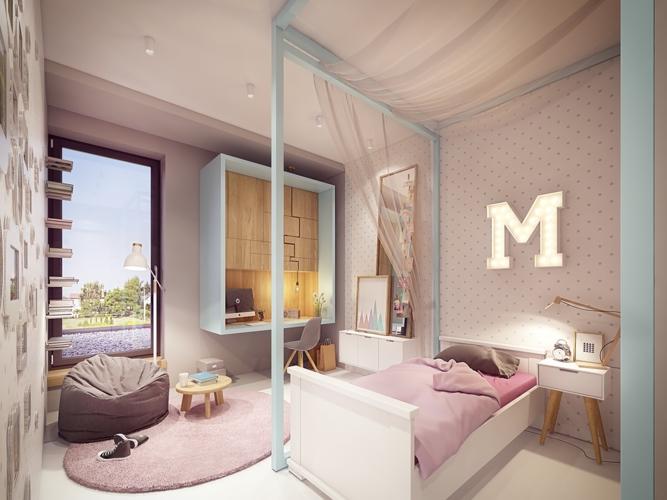 Phòng ngủ của cô con gái sử dụng tông màu hồng đáng yêu, bàn học có hình khung cửa sổ tăng thêm sự yên tĩnh và tập trung, kệ sách đặt dọc theo tường phân theo tầng dễ truy cập hàng ngày