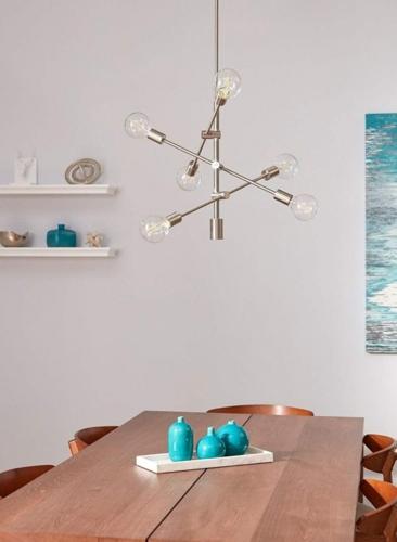Bóng đèn kết nối với một trục xoay giúp gia chủ có thể điều chỉnh khu vực chiếu sáng theo ý muốn