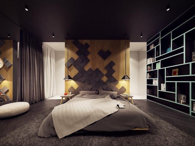 Chủ đề của ngôi nhà được thể hiện đầy đủ trong không gian phòng ngủ, bức tường ốp gỗ hình 3D phá vỡ sự nhàm chán cho căn phòng