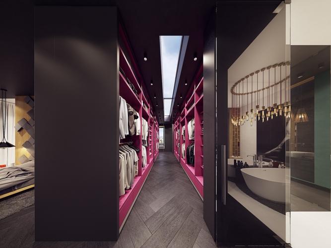 Nếu phòng ngủ trang trí hoàn toàn bằng tông màu tối thì tủ quần áo phía sau là một không khí hoàn toàn trái ngược với những bảng màu vui tươi và trẻ trung