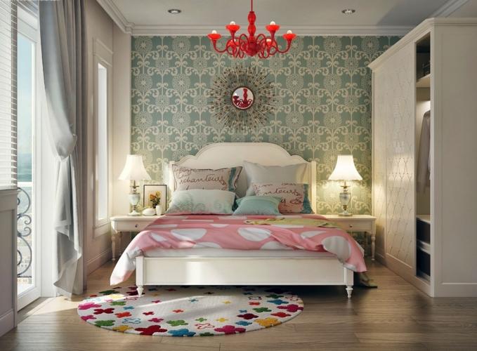 Chăn nệm có màu sắc vui mắt hài hòa với bức tường trang trí đầu giường, tủ âm tường khiến căn phòng thêm rộng rãi và thoáng đãng