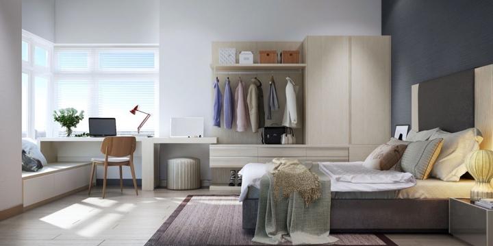Hệ thống tủ, kệ lưu trữ bố trí dọc theo tường khiến căn phòng vừa có vẻ tiện nghi lại mang nét cá tính riêng của người sở hữu