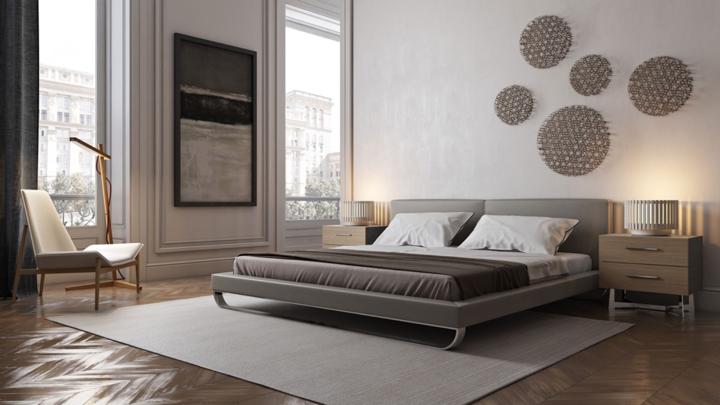 Giường phủ crom kết hợp với đầu bọc nệm hài hòa