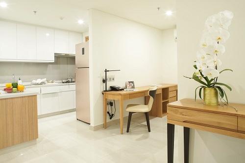 Không gian trong các căn hộ dịch vụ được bố trí hợp lý, tiện nghi mang đến cho khách cảm giác như đang ở chính tại nhà mình
