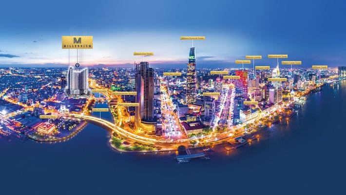 Millennium là dự án cao cấp nằm ở vị trí đắc địa, cách trung tâm tài chính Tp.HCM chỉ 1 cây cầu cây cầu
