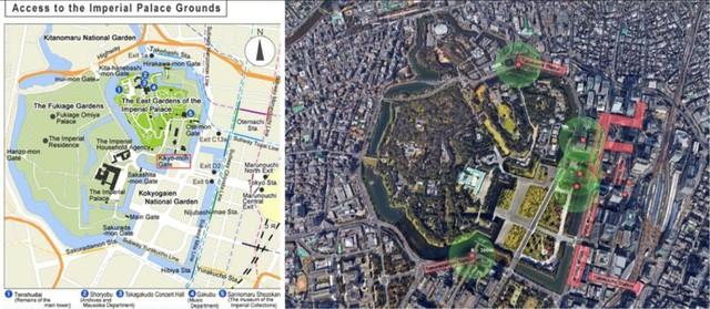 Tài liệu hướng dẫn du lịch của Nhật Bản cho biết, có 5 cửa lên từ các ga ngầm, đến cổng gần nhất 250m (lối ra 1A dẫn đến cổng Ote-mon).