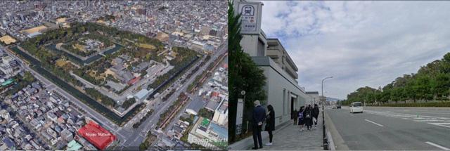 Gần Nijo Castle có một ga ngầm duy nhất nằm bên kia đường ô tô bao quanh di tích