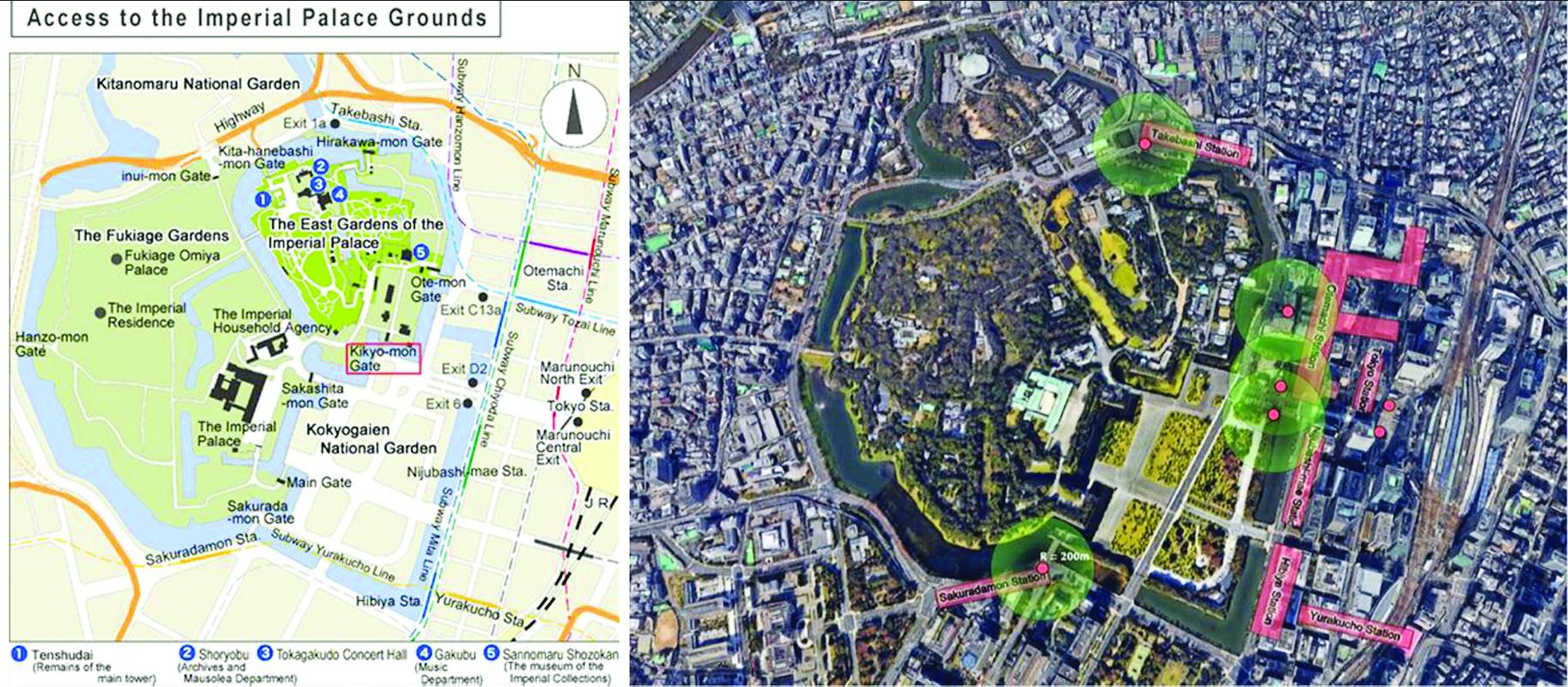 Tài liệu hướng dẫn du lịch của Nhật Bản cho biết có 5 cửa lên từ các ga ngầm, đến cổng gần nhất 250m. Hanoidata lập bản đồ Hoàng cung Tokyo và vị trí các nhà ga ngầm, các lối ra. Ký hiệu lấy nhà ga làm tâm, vòng tròn có R = 200m