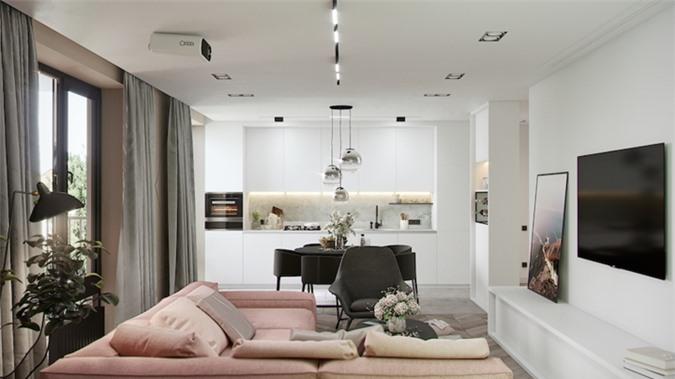 Màn cửa màu xám mang lại những phút giây nghỉ ngơi yên tĩnh cho chủ nhân, tường nhà sơn trắng dễ thay đổi và làm mới về sau