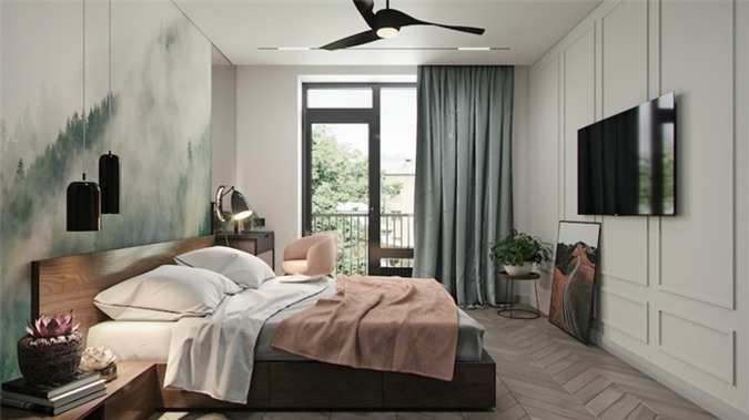 Bức tranh đầu giường tăng thêm cảm giác thơ mộng cho căn phòng, cửa trượt cạnh ban công nối thẳng phòng ngủ với khu vực bên ngoài