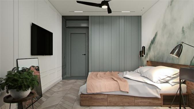 Chiếc quạt trần giúp điều hòa không khí trong phòng vào những hôm thời tiết nóng bức, tủ quần áo âm tường tiết kiệm diện tích đáng kể cho phòng ngủ