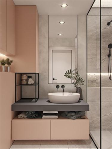 Tường phòng tắm màu hồng phấn tinh tế
