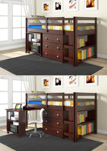 Giường ngủ, bàn học, ngăn kéo và giá sách cho trẻ có màu nâu hạt dẻ được kê trong căn nhà tường dán giấy, cửa sổ màu sáng đã khiến cho không gian nhà ở nổi bật hơn