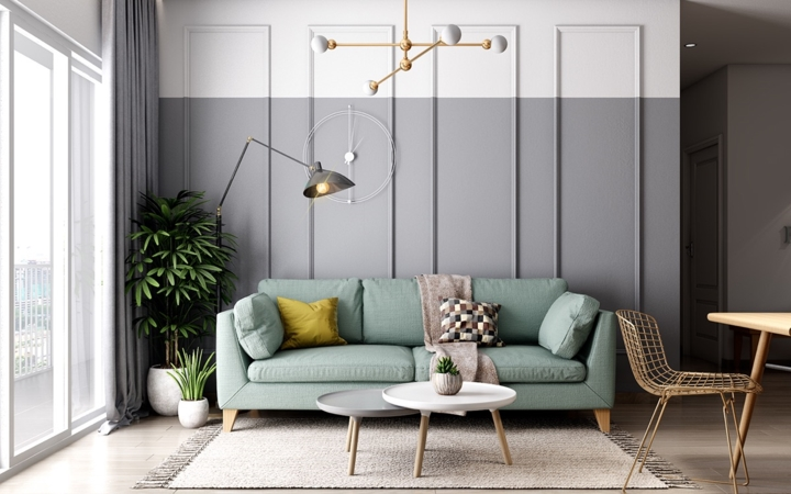 Ghế sofa màu xanh bạc hà mang đến một không gian tiếp khách nhẹ nhàng và ấm cúng