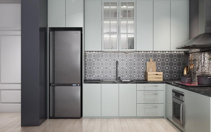 Tủ lạnh, bếp nấu và bồn rửa phân chia hợp lý thuận tiện cho quá trình nấu nướng hàng ngày