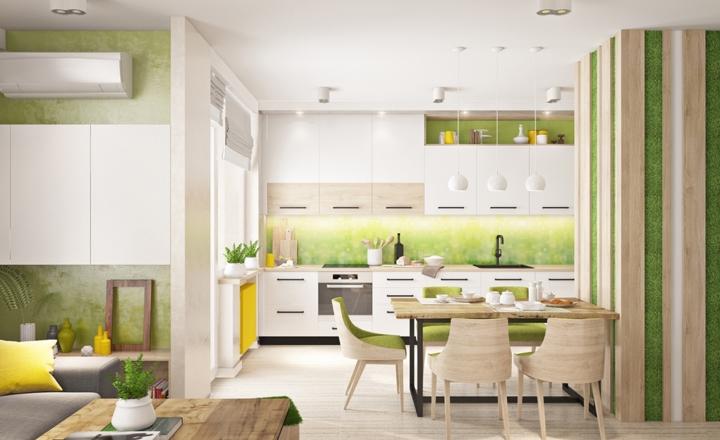 Gian nhà bếp được sơn màu xanh lá cây ở tường, tủ và ghế ăn..