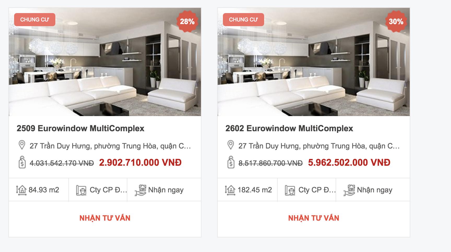 Dự án Eurowindow Multicomplex Trần Duy Hưng được quảng cáo là giảm 28-30% giá trị căn hộ trên website RedFriday. (Ảnh chụp màn hình khi diễn ra Tuần lễ vàng bất động sản Red Friday)