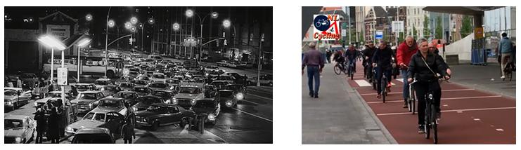Hình 4: Đường phố Hà Lan những thập kỉ 60-70 và ngày nay (Nguồn: https://www.dutchcycling.nl/)