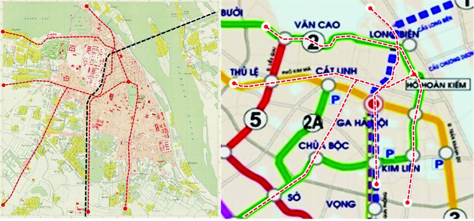 Mạng lưới đường sắt - tầu điện thời Pháp thuộc (hình trái) đặt vào quy hoạch UMRT (hình phải)