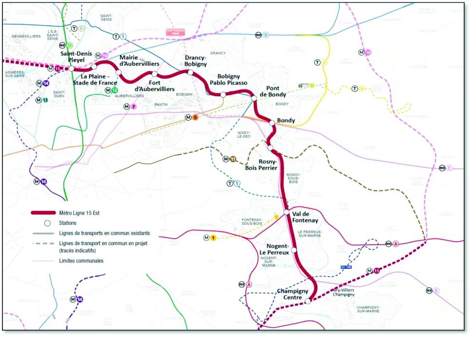 Sơ đồ tuyến metro ngầm 15 và 16 TP Paris (CH Pháp)
