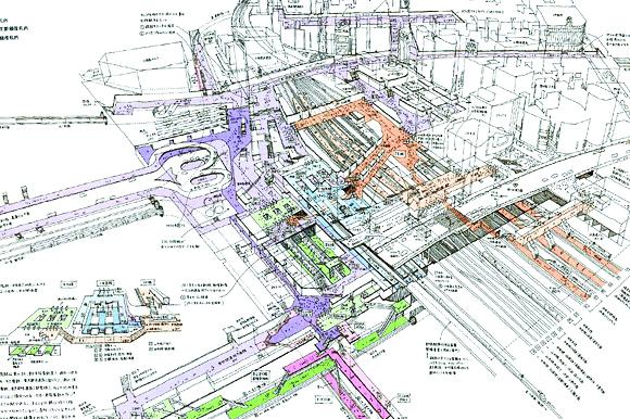 Bản đồ vùng nhà ga Shinjuku và sơ đồ trung tâm mua sắm ngầm Shinjuku, Tokyo, Nhật Bản  (Nguồn: tokyotopia.com)