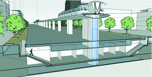 Mô hình nhà ga ngầm phục vụ đường sắt trên cao, kết hợp với ngầm bộ hành và cung ứng dịch vụ