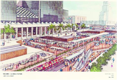 Mặt cắt mô tả dự án trung tâm dịch vụ, thương mại bán lẻ kết hợp  trong nhà ga xe điện ngầm Wilshire/La Brea - Nam Califonia (Mỹ) (Nguồn: http://metroprimaryresources.info)
