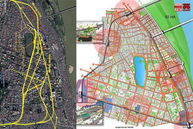 Vị trí ga C9 và hướng tuyến đường sắt đô thị số 2 với phương án BQL dự án công bố và phương án đưa ga C9 ra ngoài đê do CitySolution đề xuất