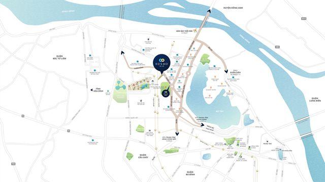 Kosmo Center sở hữu vị trí đắc địa khu vực phía Tây hồ Tây - nơi trung tâm sôi động mới của Thủ đô Hà Nội