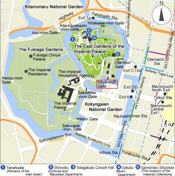 Sơ đồ các cửa ga Takebashi và các hướng tiếp cận Hoàng cung Tokyo (Ảnh: Imperial Hausehold Agency)