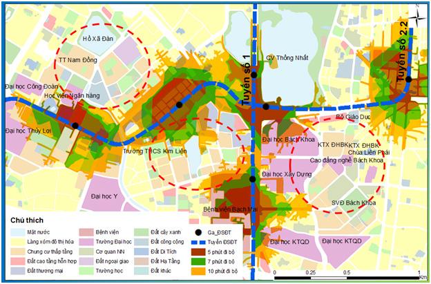 Hình 3. Tuyến ĐSĐT số 2.2 trong quy hoạch không gắn với đô thị