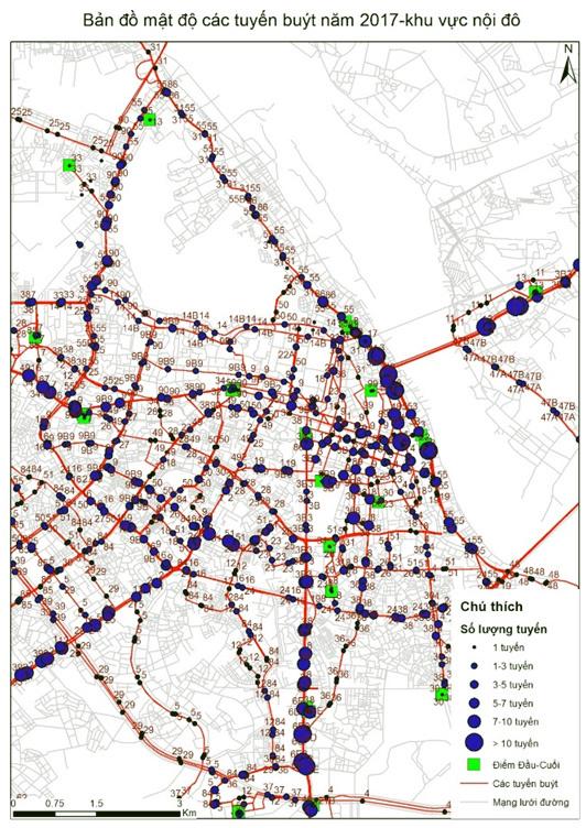 Hình 1. Mạng lưới tuyến buýt khu vực nội thành Hà Nội năm 2017