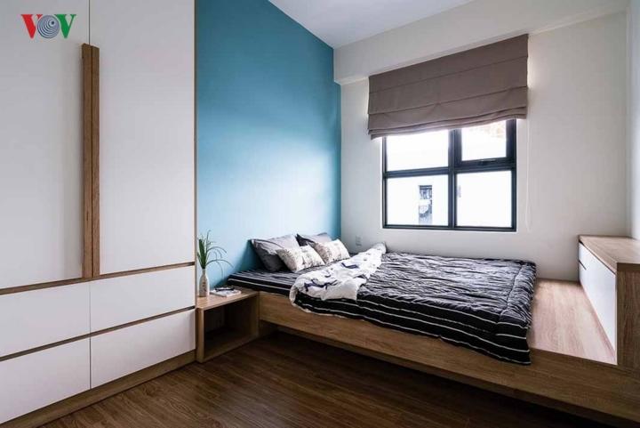 Cận cảnh phòng ngủ màu xanh dương