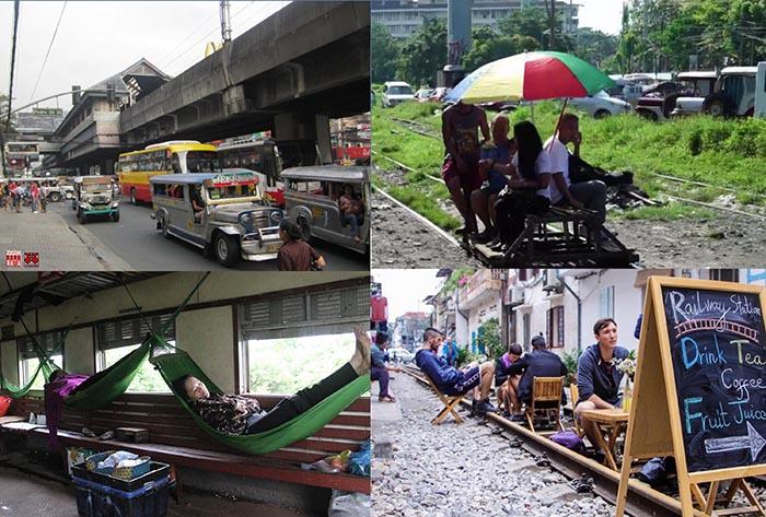 Hình 1: Đường sắt nhẹ trên cao LRT tại Manila ; Tàu liên tỉnh vắng vẻ để Tàu tự chế tung hoành. Tại Việt Nam trong khi giao thông đô thị tắc nghẽ thì đường sắt liên tỉnh cũng quạnh hưu, thâm chí có thể thảnh thơi nhâm nhi café trên đường tàu vắng vẻ đi vào ga Hà Nội