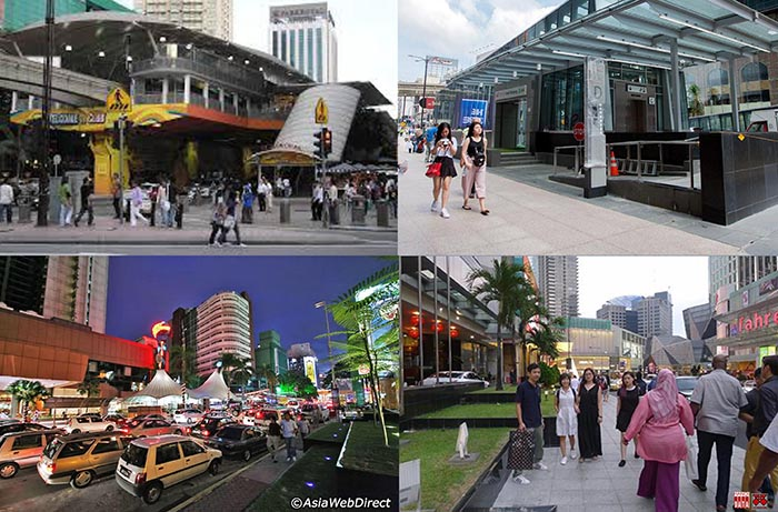 Hình 2: Khu phố trung tâm Kualalumpur (Bunkit Bintang): ga Monorail khánh thành 2003; Lối xuống Ga tàu điện ngầm không người lái, khánh thành 2017. Đường phố Bunkit Bintang trước năm 2000 dày đặc ô tô, năm 2018 sau khi ĐSĐT (ngầm và nổi) hoạt động: thu hẹp đường ô tô, mở rộng vỉa hè cho người đi bộ