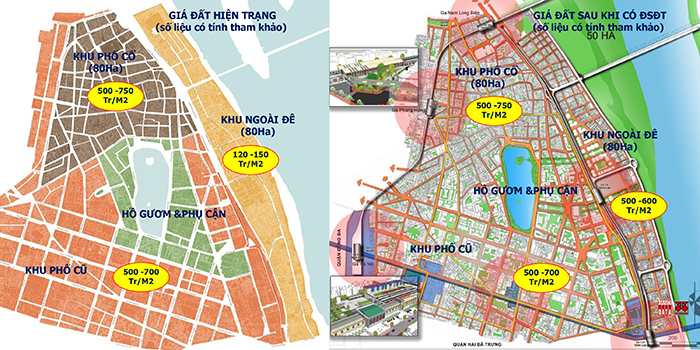 Các tuyến ĐSĐT 1,2,3 nếu bố trí hợp lý sẽ tạo ra giá trị gia tăng đất đai ngay tại quận Hoàn Kiếm: ĐSĐT đã tạo ra các không gian đô thị có giá trị cao - CitySolution đề xuất 2018